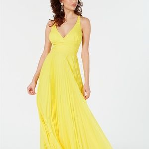 Laundry by Shelli Segal Pleated Maxi Gown Sunshine